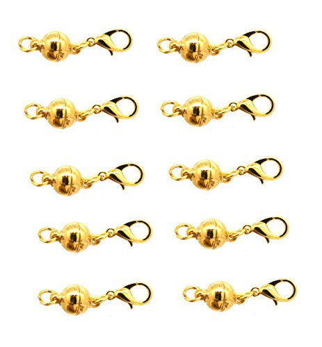 Mandala Crafts 10 Silver Gold Tone Jewelry Making Magnetic Hooks Lobster Clasps Necklace Bracelet Converter Extender (Gold Tone Ball)