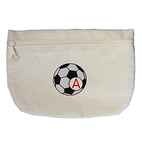 Embroidery Soccer 1 (Custom Embroidery Monogram 1 Letter Sport Soccer Football Frame Cotton Canvas Makeup Bag Zippered Pouch)