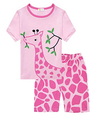 (Little Girls Pajama Pink Pjs 100% Cotton Summer Short Sets Toddler Pjs Clothes Size 4 5 T)