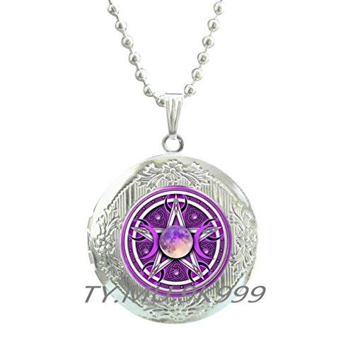 Goddess Locket (Yao0dianxku Triple Moon Goddess Locket Pendant Pentagram Locket Necklace Witch Jewelry Glass Dome Wiccan Locket Necklace Chain Charm Wicca Jewellery .Y062 (1))