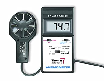 Thomas Traceable Digital Anemometer with Vane Probe, 0.4 to 30.0 m/s Velocity , 0 to 60° C Temperature