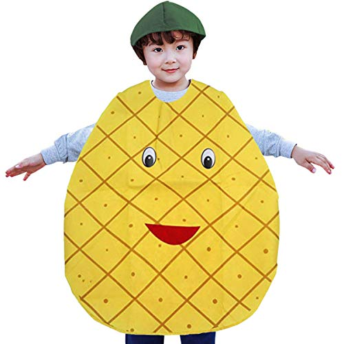 Child Kid Costume Pineapple Tunic Headpiece Set Theme Party Cosplay Apparel Performance Outfits