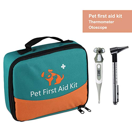 ONETWOTHREE Pet First Aid Kit/Veterinary First Aid Bag for Dog/Cat/Rabbit/Animal,with Thermometer& Syringe&Otoscope,Perfect for Home Care and Outdoor Travel Emergencies