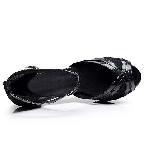 Chaussures Avectaille Elobaby Hauts Femmes Soirée Chaton Talons 33 Moderne Peep Talon 45Black Boucle De Danse Toe Latin PXuiOkZ