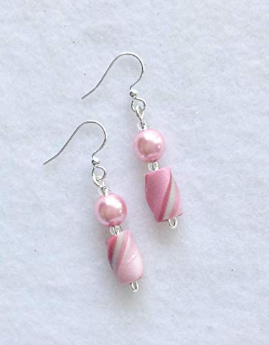 Dangle Handcrafted Soft and Deep Pink Twist Bead Earrings Polymer Clay French Hooks Lightweight