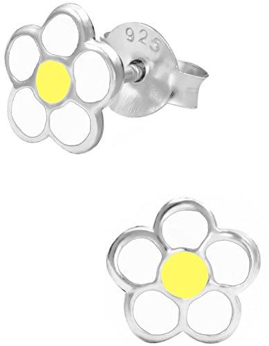 .925 Sterling Silver Hypoallergenic White & Yellow Daisy Stud Earrings for Girls (Nickel Free) (White Daisy Earrings)