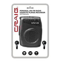 CRAIG CS 2304 Personal AM/FM Radio Cassette Player/Recorder with Earphones