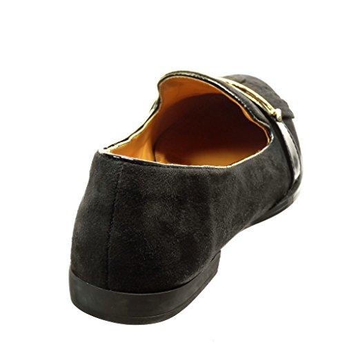 Angkorly - Zapatillas de Moda Mocasines slip-on mujer fleco perforado metálico Talón Tacón ancho 1.5 CM - Negro