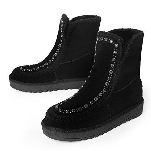 botas de nieve con el tubo corto de invierno/Cuerpo creciente antideslizante plano botines/ calzado casual B