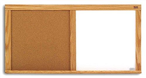 Natural Cork & Whiteboard Combo w Oak Trim (24 in. x 36 in.) by Marsh