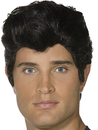 Mens Fancy Dress Party Film & Tv Stars Headpiece False Hair Danny Wig Black - Danny Grease Hair