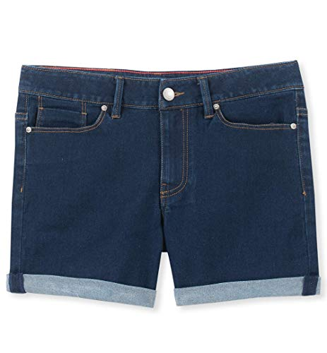 Calvin Klein Big Girls' Denim Short, Cuff Dark Rinse 10