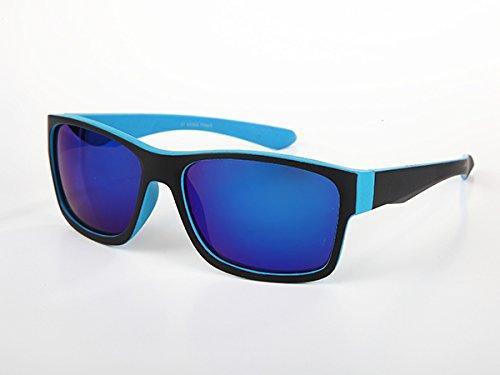 Pour Forme Lunettes De Miroir Uv Grande Effet Turquoise Soleil Noir 400 Homme Carrée qqYTErp