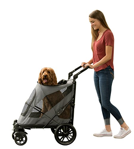 Pet Gear NO-Zip Stroller, Push Button Zipperless Dual Entry, for Single or Multiple Dogs/Cats, Pet Can Easily Walk in/Out, No Need to Lift Pet (Hot To Train Your Dog To Sit)