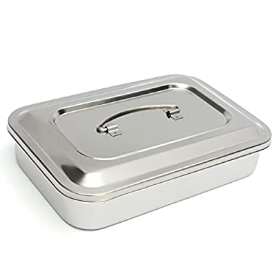 "MiguCo 9.5""x6.3""x2"" Stainless Steel Instrument Tray Organizer Holder with Lid & Handle Grip"