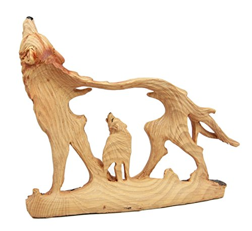 Atlantic Collectibles Wildlife Woodlands Scene Blood Moon Howling Gray Alpha Wolf Figurine In Faux Wood Finish by Atlantic (Image #1)