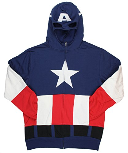 Captain America Costume Cap A Fleece with Mask Navy Adult Zip-Up Hooded Sweatshirt Hoodie (Adult XX-Large)