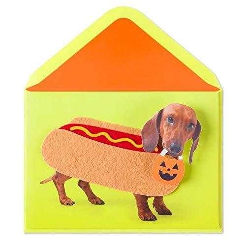 Funny Greeting Card Halloween Happy Halloweenie! Hot Dog Felt Costume Halloween Funny Card -