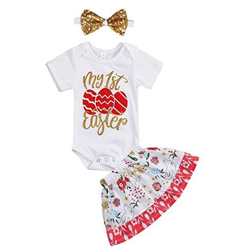 YOUNGER TREE Newborn Baby Girls Cotton 3pcs My 1st Easter Romper Bodysuit Dress Tutu & Headband 0-24M (0-6Months, First Easter)]()
