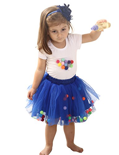Baby Girls Tutu Skirt and Toddler T-Shirt Sleeve Top Outfit Set (M, Royal Blue) ()