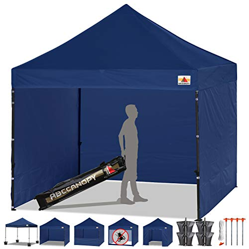 ABCCANOPY Tents Canopy Tent 10 x 10 Pop Up Canopies Commercial Tents Market stall with 4 Removable Sidewalls and Roller Bag Bonus 4 Weight Bags and 10ft Screen Netting and Half Wall,Navy Blue (Navy Canopy Tent)