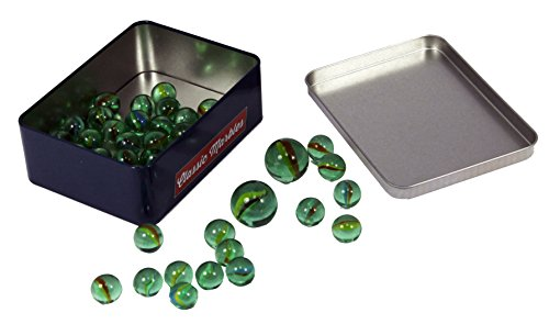 Colored Glass Marbles Decorative Balls Multi Color Assorted Toy Game Marbles - Aquarium Vase Filler Set - 2 Shooters 48 Play Marbles - Bulk Pack In Box