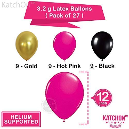 16th BIRTHDAY PARTY SUPPLIES DECORATIONS - Hot Pink Happy Birthday Banner  Sign, Number 16 Mylar Balloon,Pink Gold Black Latex Ballon, Great Sweet 16