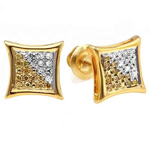 - 0.10 Carat (ctw) 18K Yellow Gold Plated Sterling Silver White & Yellow Round Diamond Micro Pave Setting Kite Shape Stud Earrings 1/10 CT