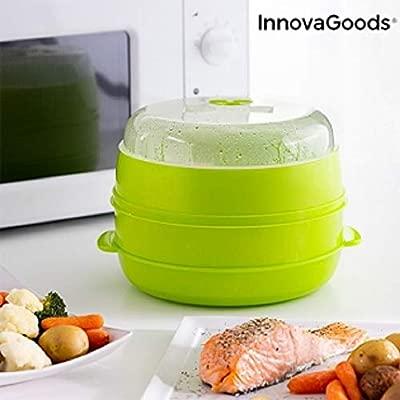 InnovaGoods Vaporera Doble para Microondas Fresh, Verde, 22 ...