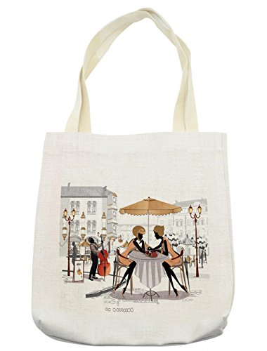 Lunarable Girls Tote Bag, Two Ladies in a Paris Cafe in Old Town with Street Musician Urban Theme, Cloth Linen Reusable Bag for Shopping Groceries Books Beach Travel & More, Cream