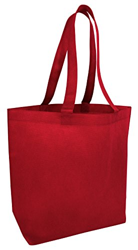 (50 Pack) Set of 50 Large Budget Spruce Promotional Tote Bags with Bottom Gusset (Red)