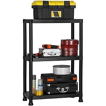 VonHaus 3 Tier Garage Shelving Unit   Heavy Duty Black Plastic Interlocking  Free Standing Utility Storage