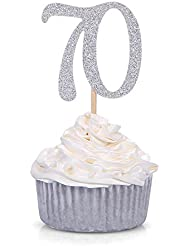 24 PCS Silver Number 70 Cupcake Toppers 70th Birthday and Anniversary Celebrating Party Decors