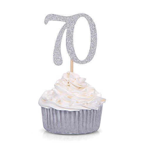 (24 PCS Silver Number 70 Cupcake Toppers 70th Birthday and Anniversary Celebrating Party Decors)