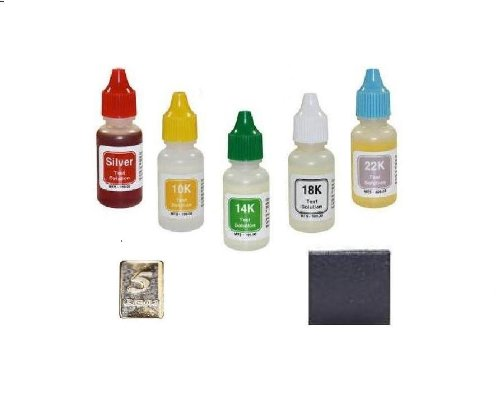 Gram 18k Box (5 Bottle PuriTEST Box Test Acids Plus Tester Stone and Free 5gr Solid Silver Bar)