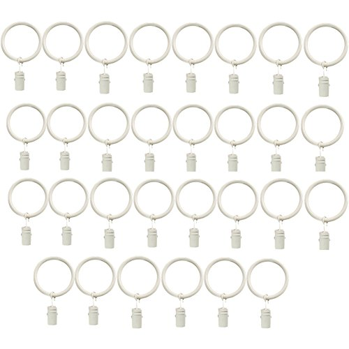 Lsgoodcare Set of 30 Decorative Metal Drapery Curtain Rings with Clips-1.5 Inch Interior Diameter, White Clip Rings for Curtain(Premium Iron Material)
