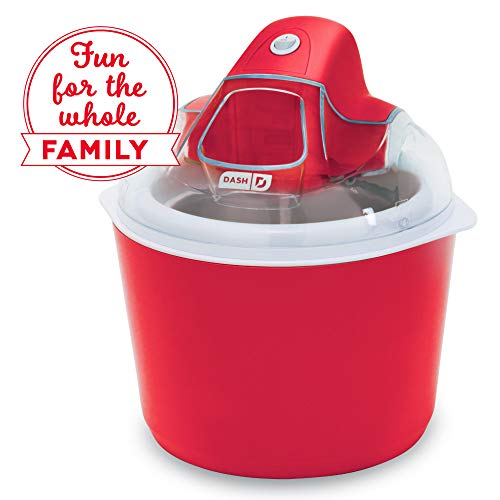 (Dash DIC001RD Deluxe Ice Cream Frozen Yogurt & Sorbet Maker With Easy Ingredient Spout, Double-Walled Insulated Freezer Bowl & Free Recipes, 1 quart, Red)
