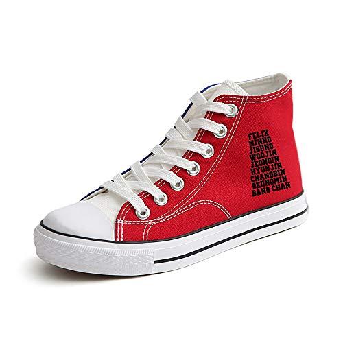 Red40 Cravate Chaussures Fitness Unisexe Décontractée Hautes Légères Tissu Baskets Stray Kids Rétro Unisex Toile De Top Plate Étudiantes Aivosen Sport wqxO1BHt0n