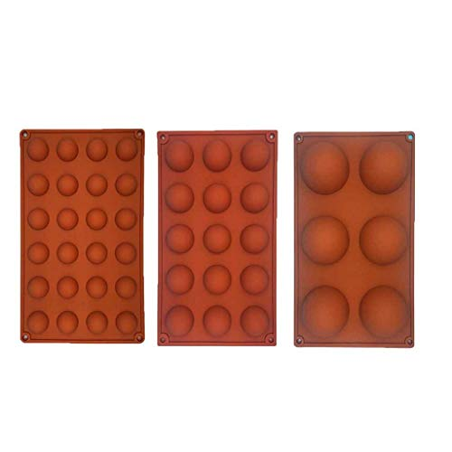 Iusun Half Ball Sphere Mould Biscuit Maker DIY Muffin Chocolate Cake Baking Mold Cookies Press Decorator Kit Icing Tray Kitchen Tools Set (Brown)