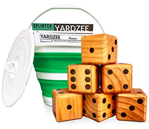 (Splinter Woodworking Co Yardzee & Yard Farkle Giant Yard Dice Set (All Weather) with Collapsible Bucket and Lid, Big Laminated Score Cards & Dry Erase Marker | Backyard Lawn Game | Indoor | Outdoor)