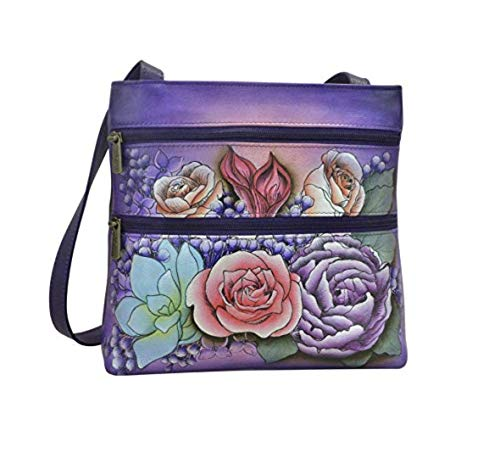 Anuschka Hand Painted Genuine Leather Small Travel Crossbody Bag (Lush Lilac)