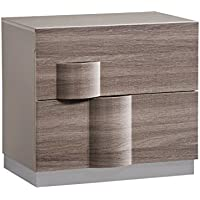 Global Furniture ADEL (119A)-NIGHT STAND Nightstand, 28 x 19 x 25, Grey High Gloss & Zebra Wood