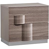 Global Furniture ADEL (119A)-NIGHT STAND Nightstand, 28 x 19 x 25, Grey High Gloss & Zebra Wood