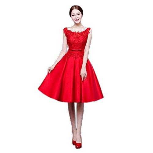 Cotylédons Women`s Robes Rouges Encolure Dégagée Robe Sans Manches En Dentelle Mince