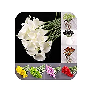 meiguiyuan 10 Pcs/lot Real Touch Lily Calla Artificial Flower Bouquets Home Wedding Bridal Decor Decorative Flowers & Wreaths 7 Colors 28