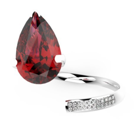 ZIGZAG PEAR Bagues Or Blanc 18 carats Rubis Rouge 0,6 Rond