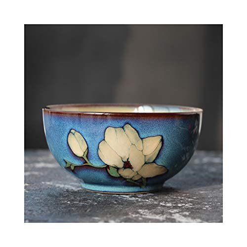 Flower Coupe Soup Bowl - MDYMX Cereal bowl Ceramic small rice bowl rice bowl hand-painted flowers handmade bowl noodle bowl soup bowl salad bowl Ceramic bowl (Color : H)