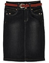 Big Girls' Belted Denim Skirt