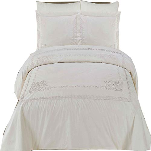 Athena White Embroidered 8PC King Size Bed in a Bag Comforter Set 100 % Egyptian Cotton 300 TC, includes 4pc Sheet Set + 3pc Duvet Cover Set + Down Alternative Comforter by Royal Hotel Bedding - Embroidered Bed