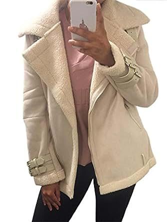 Simplee Apparel Women's Lapel Zip Up Faux Fur Shearling Biker Jacket Aviator Coat Outwear Beige